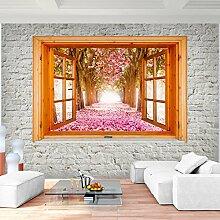 Fototapete Fenster zum Blumen Wald Vlies Wand Tapete Wohnzimmer Schlafzimmer Büro Flur Dekoration Wandbilder XXL Moderne Wanddeko - 100% MADE IN GERMANY - Runa Tapeten 9211010b