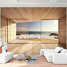Fototapete Fenster zum Meer 352 x 250 cm Vlies Wand Tapete Wohnzimmer Schlafzimmer Büro Flur Dekoration Wandbilder XXL Moderne Wanddeko - 100% MADE IN GERMANY - Strand Blau Runa Tapeten 9051011a