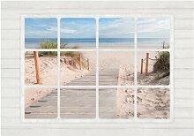 Fototapete Fenster zum Strand East Urban Home