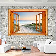 Fototapete Fenster zum Strand Meer Vlies Wand Tapete Wohnzimmer Schlafzimmer Büro Flur Dekoration Wandbilder XXL Moderne Wanddeko - 100% MADE IN GERMANY - Runa Tapeten 9211010c