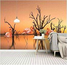 Fototapete Flamingo im Sonnenuntergangsee mit