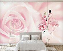 Fototapete Flamingo Mit Rosa Rosenblüten 3D