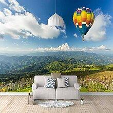 Fototapete Fliegender Heißluftballon Mauer Fresco