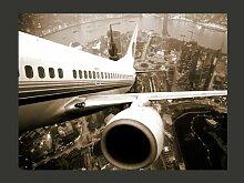 Fototapete Flugzeug beim StArt über der Stadt 231