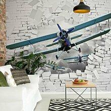 Fototapete Flugzeug durchbricht Ziegelmauer 2,54 m
