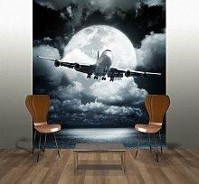 Fototapete Flugzeug im Mondschein Wandgestaltung
