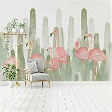 Fototapete Foto Wallpaper Flamingo Pflanze Kaktus