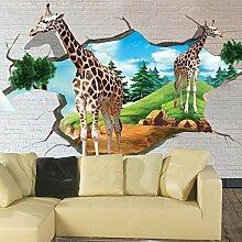Fototapete Fototapete 3D-Stereo-Giraffe Mauer