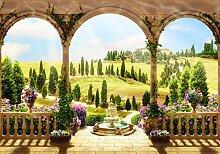 Fototapete Garten Säulen Wiese Hügel Mediteran