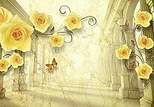 Fototapete Gelb Rosen Antik Säulen Vintage