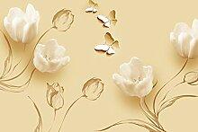 Fototapete gelbe Tulpen Zeichnung Ornamente gelb