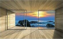Fototapete Giant Beach Sunset Fenster Effekt Wand Wandbild (3302ve), 104cm x 70cm (WxH)