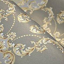Fototapete Grau Gold Strukturierter Damast Luxus