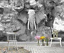 Fototapete Grau Relief Elefant Stein 3D Tapeten