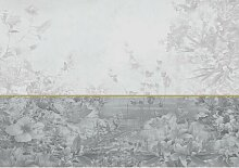 Fototapete Graue Blumen Papier 2.54 m x 368 cm
