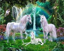 Fototapete Green Forest Rainbow Meadow Weißes