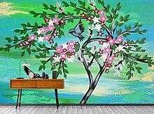 Fototapete Große Baumblumenvogelhand Gezeichnet