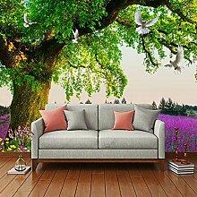 Fototapete Grüner Baum Lavendel 3D Wand Tapete
