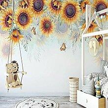 Fototapete Handgemalte Sonnenblume Pastoral Blumen
