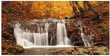 Fototapete Herbstlandschaft Wasserfall im Wald 2,7