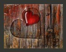 Fototapete Herz in Holz geschnitzt 231 cm x 300 cm
