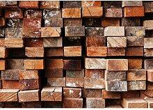 Fototapete Holz 3D 1.46 m x 208 cm East Urban Home
