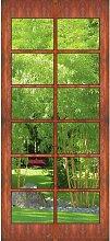 Fototapete Holz-Sprossentür Blick in Bambus