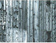 Fototapete Holzoptik Grau 396 x 280 cm Vlies Wand