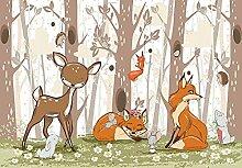 Fototapete Kinderzimmer Tiere Wald Mädchen Jungen
