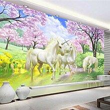 Fototapete Kirschbaum, Einhorn Moderne Wandbild