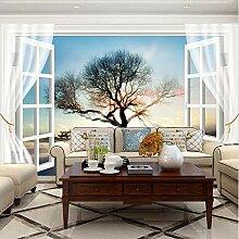 Fototapete Küche Fenster Sonnenuntergang Baum