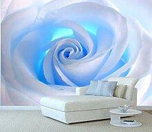 Fototapete Kunstdruck Weißes Rosen-Blaulicht -