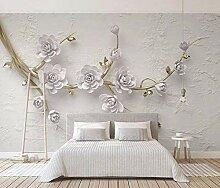 Fototapete Lavendel 3D geprägte Blumen Mauer