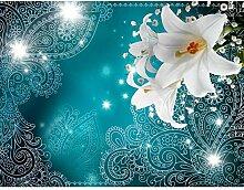 Fototapete Lilien Blumen Türkis Vlies Wand Tapete