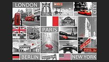 Fototapete London, Paris, Berlin, New York 210 cm