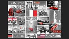 Fototapete London, Paris, Berlin, New York 245 cm