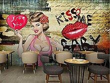 Fototapete Mädchen mit roten Lippen