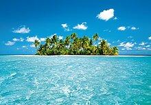 Fototapete - MALDIVE DREAM Malediven - (289i) Größe 366x254 cm 8-teilig - Palmenstrand Meer Strand Palmen Insel Wald Sonne Bäume Landschaft Natur Wohnzimmer Kinderzimmer Küche- Motivtapete Postertapete Bildtapete Wall Mural