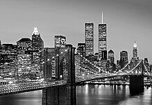 Fototapete Manhattan Skyline at Night Wand Bild