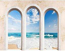 Fototapete Meerblick Fenster 396 x 280 cm Vlies