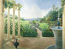 Fototapete Motivtapete Bildtapete Giardino Antico Garten Italien italienischer Garten mit Säulen und Springbrunnen Wall Mural 8-Teilig - Größe 366 x 254 cm