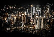 Fototapete Nacht Stadt Papier 1.84 m x 254 cm East