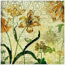 Fototapete Nostalgische Blumen und Gräser