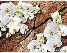 Fototapete Orchidee 3DWeiß Holz Vlies Wand Tapete
