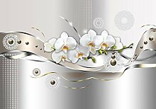 Fototapete Orchidee metallic Welle Nieten Ornament