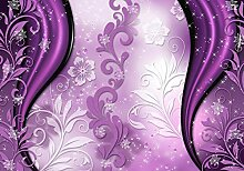 Fototapete Ornamente Blumen Funkeln violett