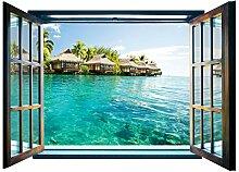 Fototapete Paradise Beach Fenster Form Wall Mural nicht gewebt (825vez4), 201cm x 145cm (WxH)