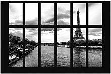 Fototapete Paris - Fenster Eiffelturm Seine Paris