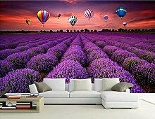 Fototapete Pastoral Lavendel Heißluftballon