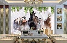 Fototapete Pferd Blumen 3D Wandbild Dekoration